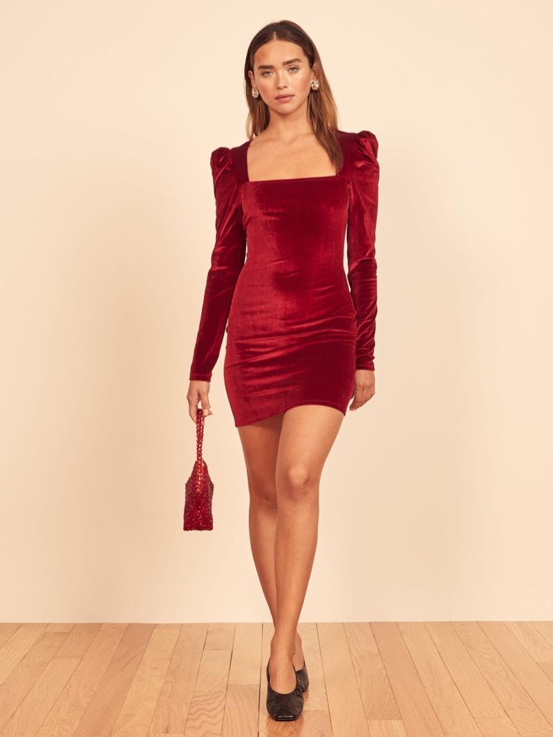 Reformation Lunar Dress in Crimson $178