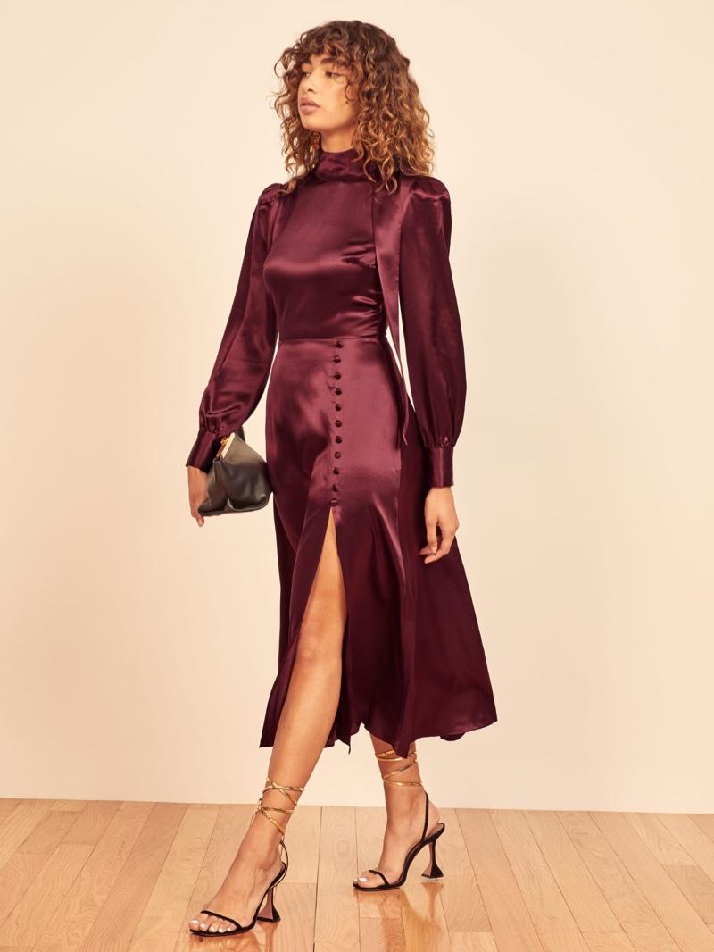 Reformation Maple Dress in Plum $298