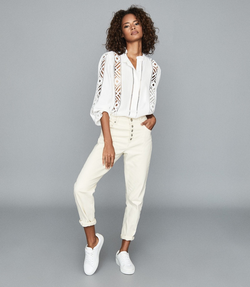 Reiss Aliyah Lace Detail Blouse in White $275
