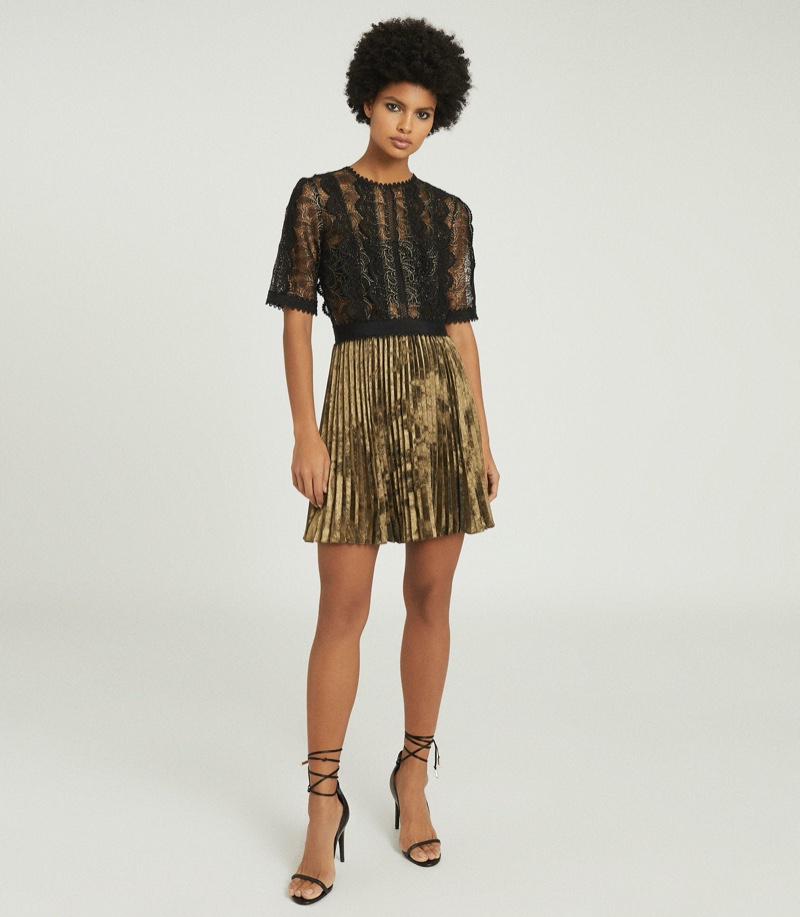 Reiss Athena Lace Detailed Mini Dress in Black/Gold $495
