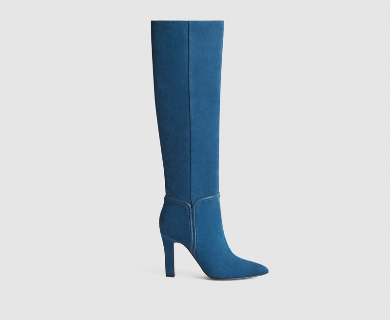 Reiss Eline Suede Knee High Boots in Blue $660