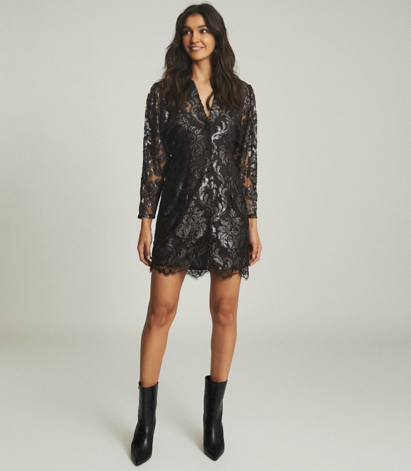Reiss Kaya Metallic Floral Lace Dress $445