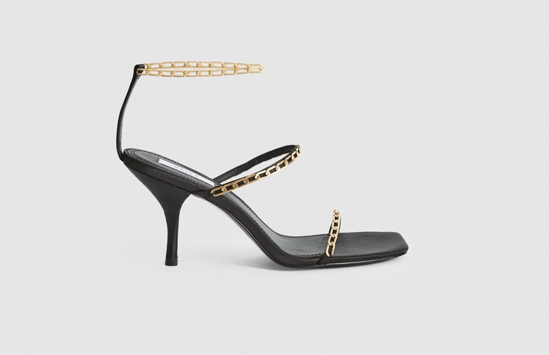 Reiss Magda Chain Satin Strappy Heeled Sandals $320
