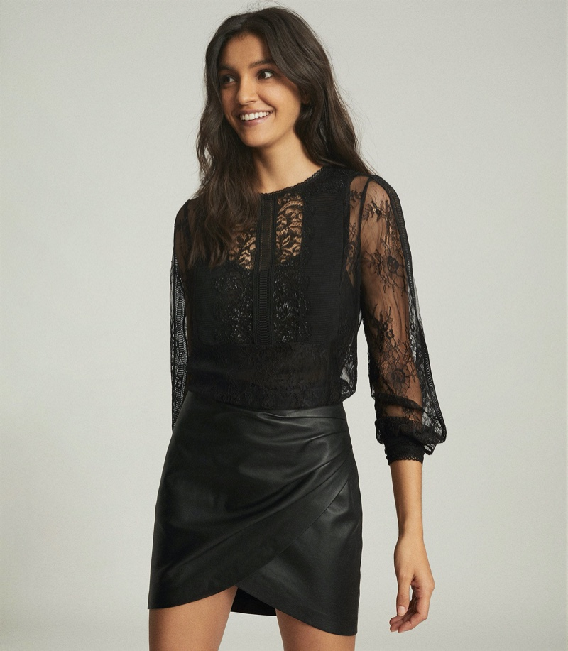 Reiss Serena Sheer Lace Blouse $320