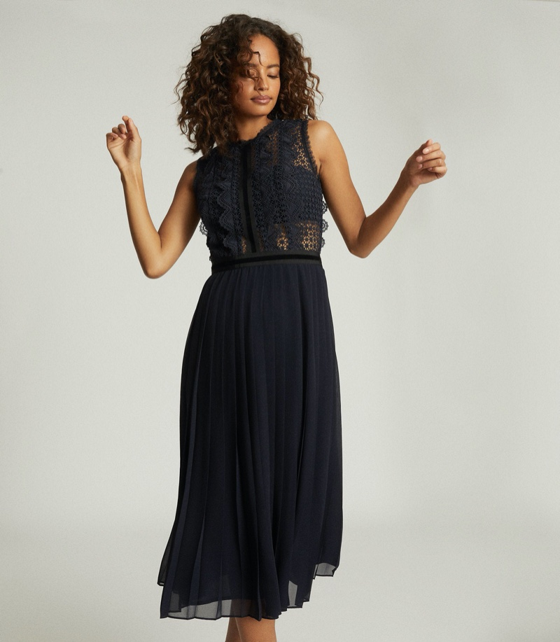 Reiss Tenley Lace Detailed Midi Dress $520
