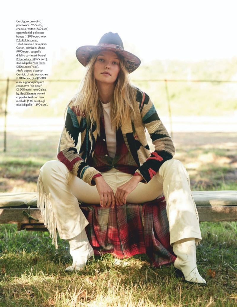 Roos Abels Embraces Country Girl Looks for ELLE Italy
