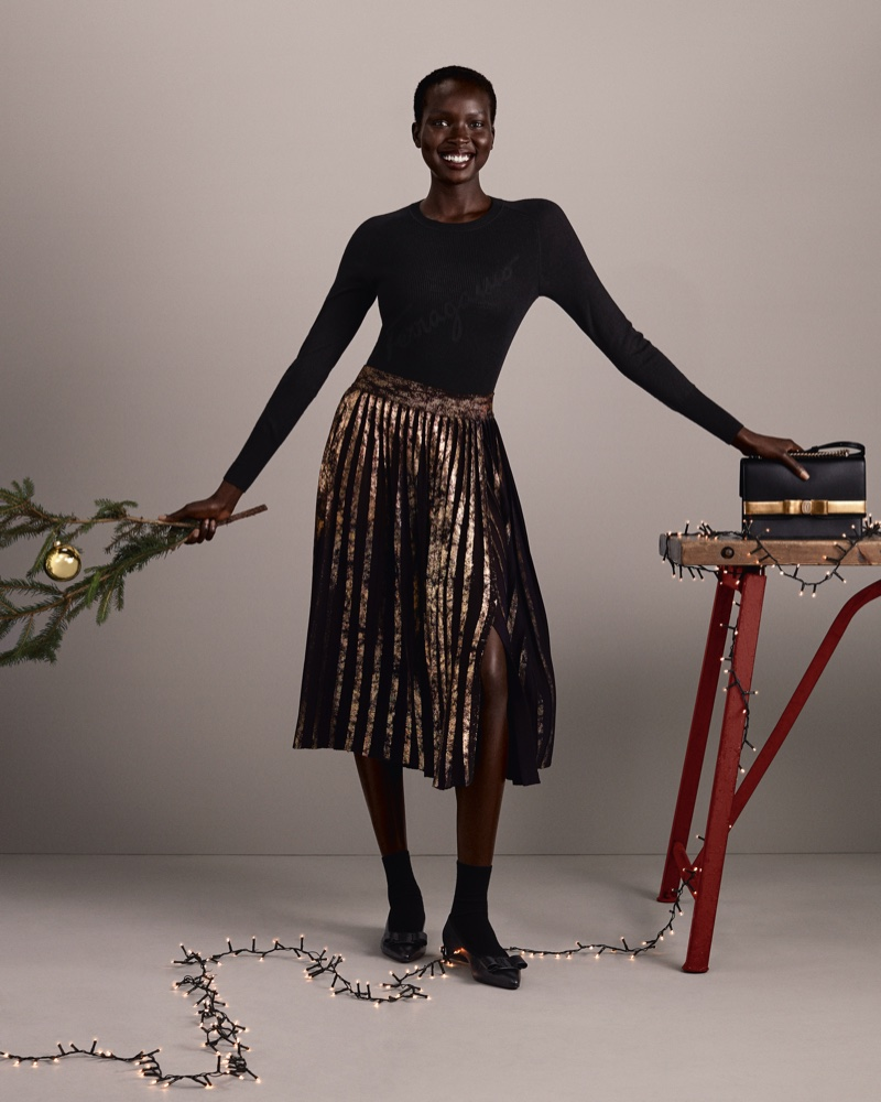 Ajok Madel appears in Salvatore Ferragamo Holiday 2020 campaign.