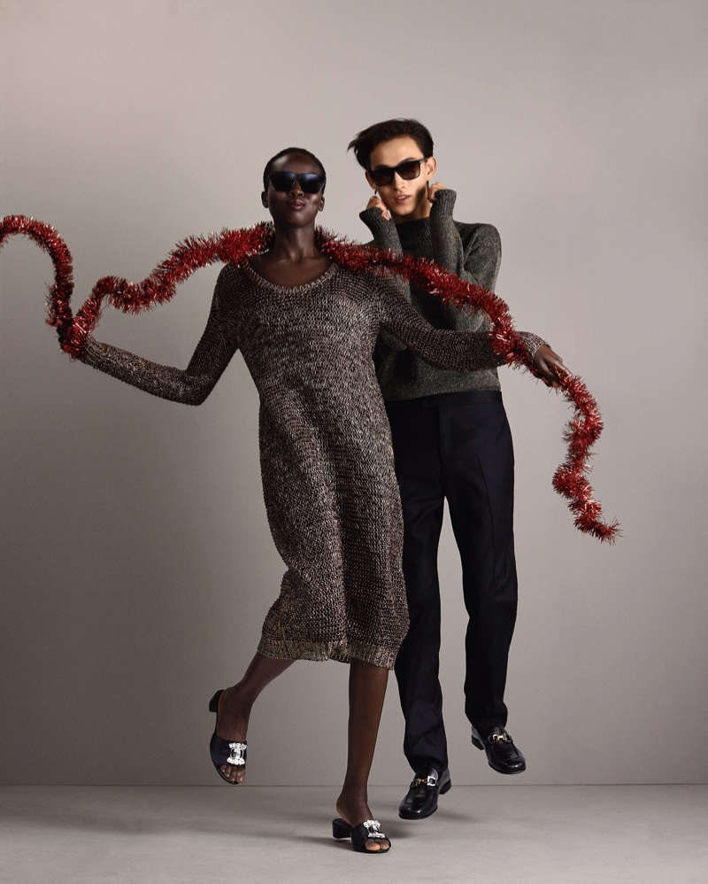 Ajok Madel and Simon Martyn front Salvatore Ferragamo Holiday 2020 campaign.