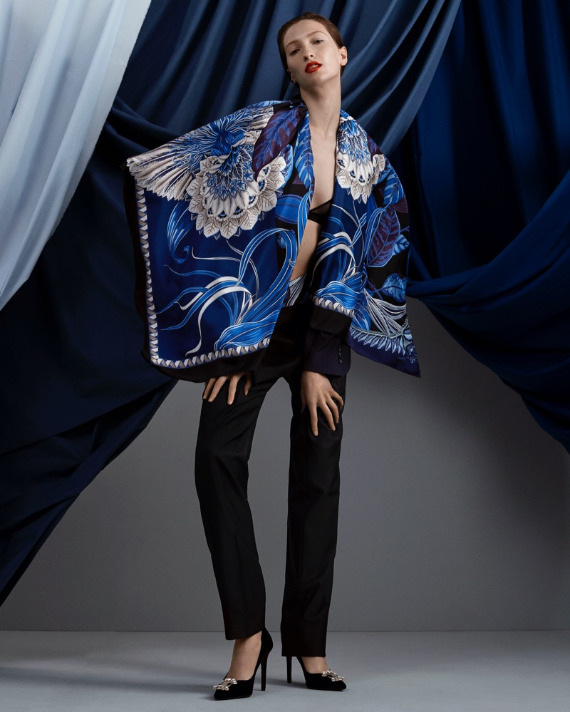 Foulard print stands out in Salvatore Ferragamo Holiday 2020 campaign.