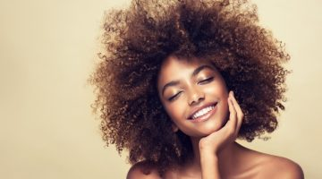 Smiling Black Model Curly Hair Beauty