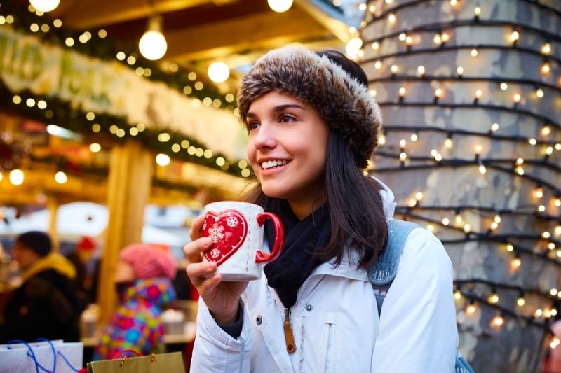 Smiling Woman Heart Shaped Mug Winter Christmas Lights
