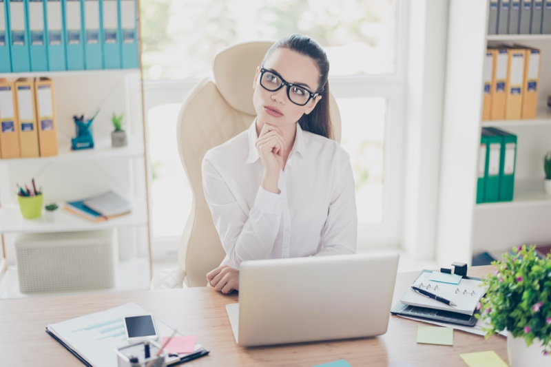 Thinking Woman Office Attractive Laptop Desk Glasses
