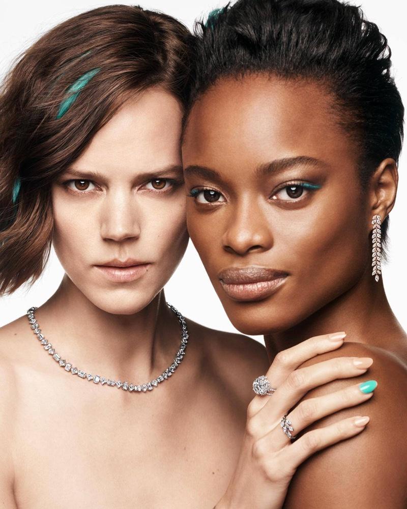 Freja Beha Erichsen and Mayowa Nicholas star in Tiffany & Co. Holiday 2020 campaign.