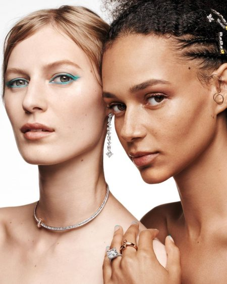Julia Nobis and Binx Walton appears in Tiffany & Co. Holiday 2020 campaign.