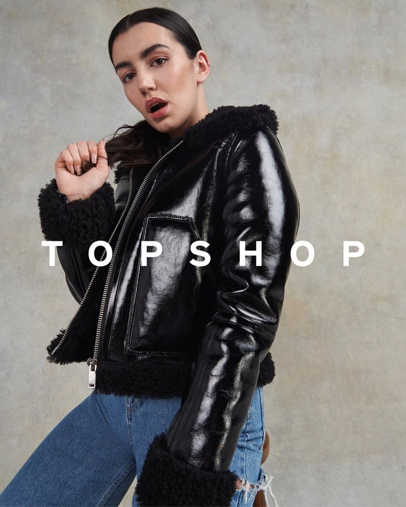Singer Gracey poses for Topshop Christmas 2020 campaign.