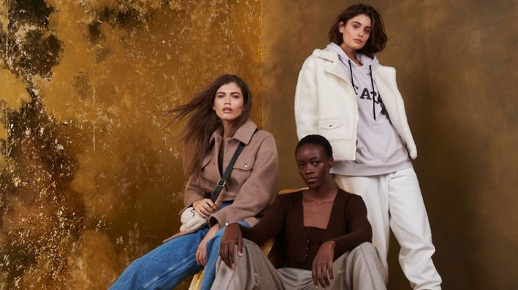 Valentina Sampaio, Michele Opiyo, and Taylor Hill star in Topshop Christmas 2020 campaign.