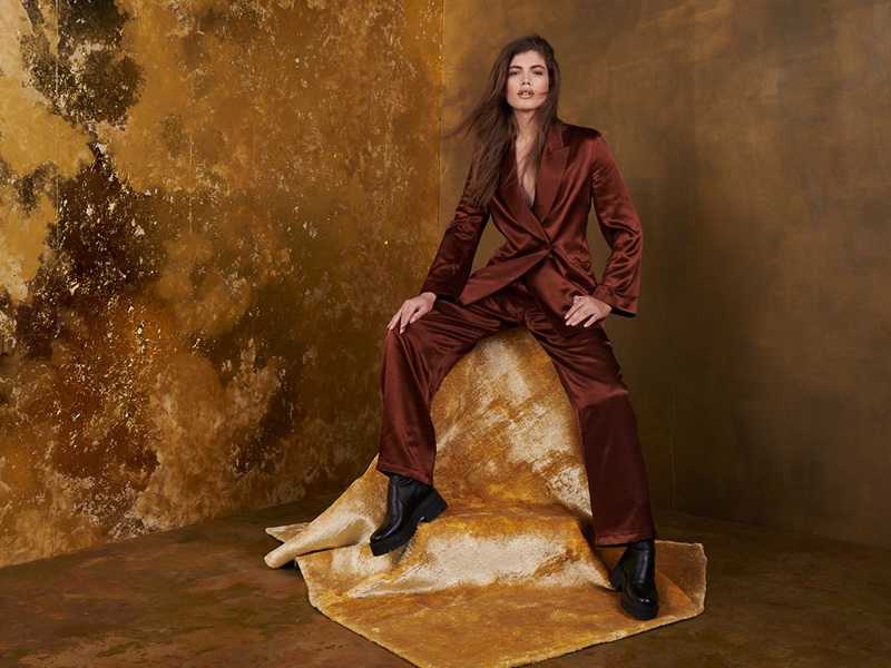 Valentina Sampaio appears in Topshop Christmas 2020 campaign.
