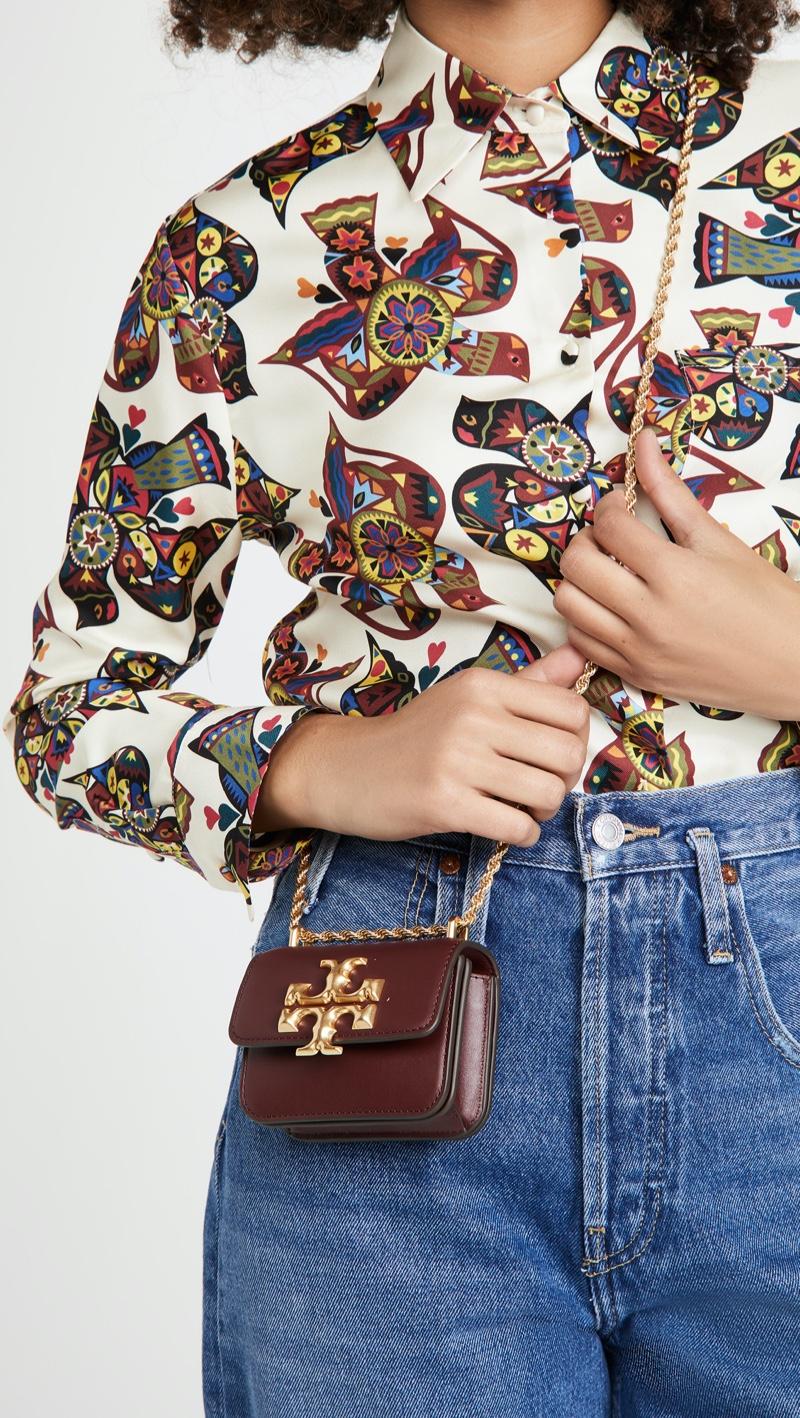 Tory Burch Eleanor Mini Crossbody Bag in Claret $398