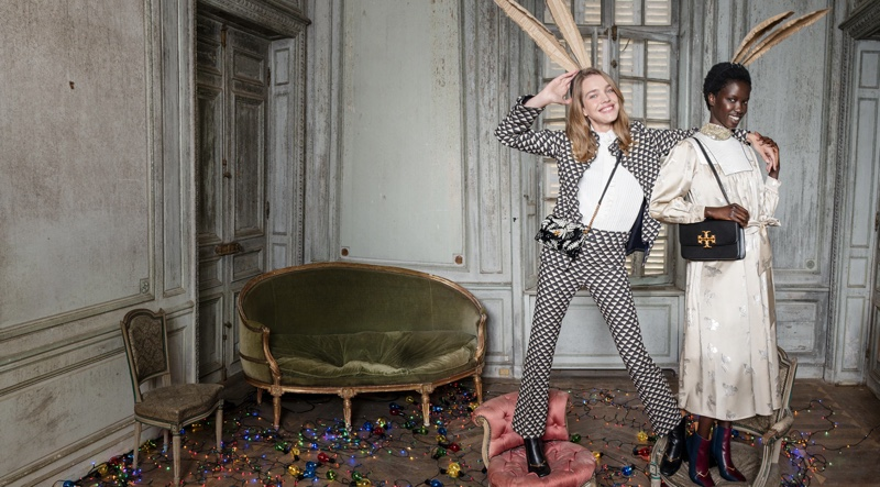 Natalia Vodianova and Anok Yai star in Tory Burch Holiday 2020 campaign.