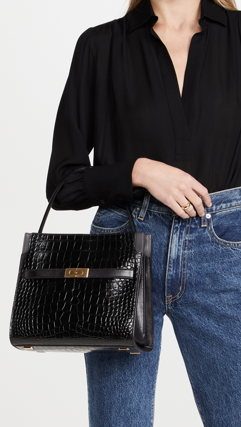 Tory Burch Lee Radziwill Embossed Small Double Bag $1,098