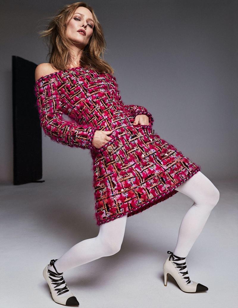 Rocking tweed, Vanessa Paradis models Chanel design.