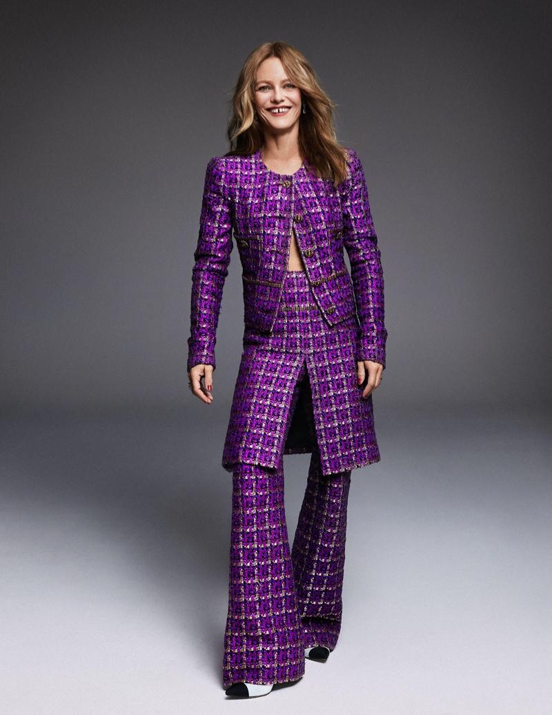 Clad in purple, Vanessa Paradis wears Chanel ensemble.