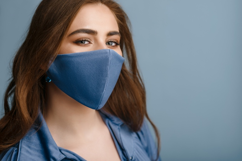 Woman Blue Face Mask Beauty Long Hair