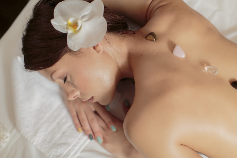 Woman Crystals Back Healing Skin Flower Hair