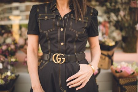 Woman Denim Outfit Gold Gucci Belt