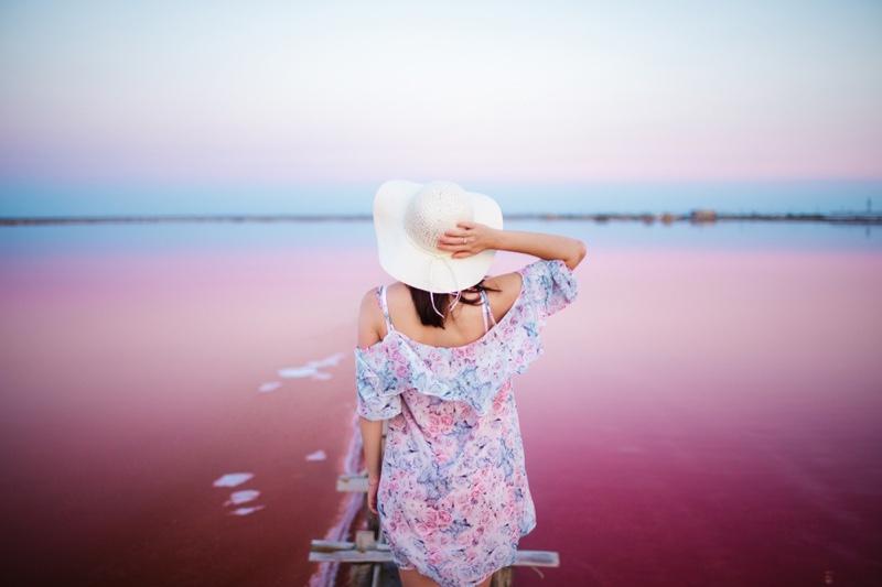 Woman Floral Print Dress Pink Salt Lake Australia