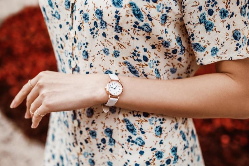 Woman Floral Print Dress White Watch Wristband