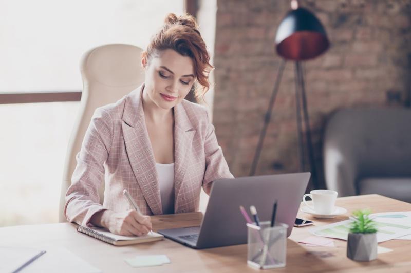 Woman Office Pink Blazer Laptop Desk Writing Notepad
