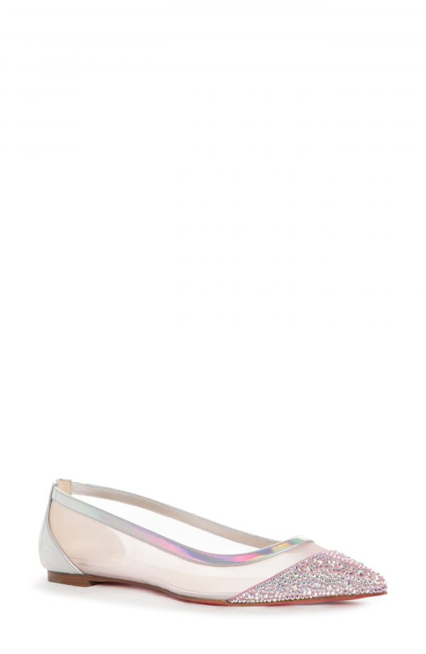 Women's Christian Louboutin Galativi Mesh Pointed Toe Flat, Size 7.5US - Pink