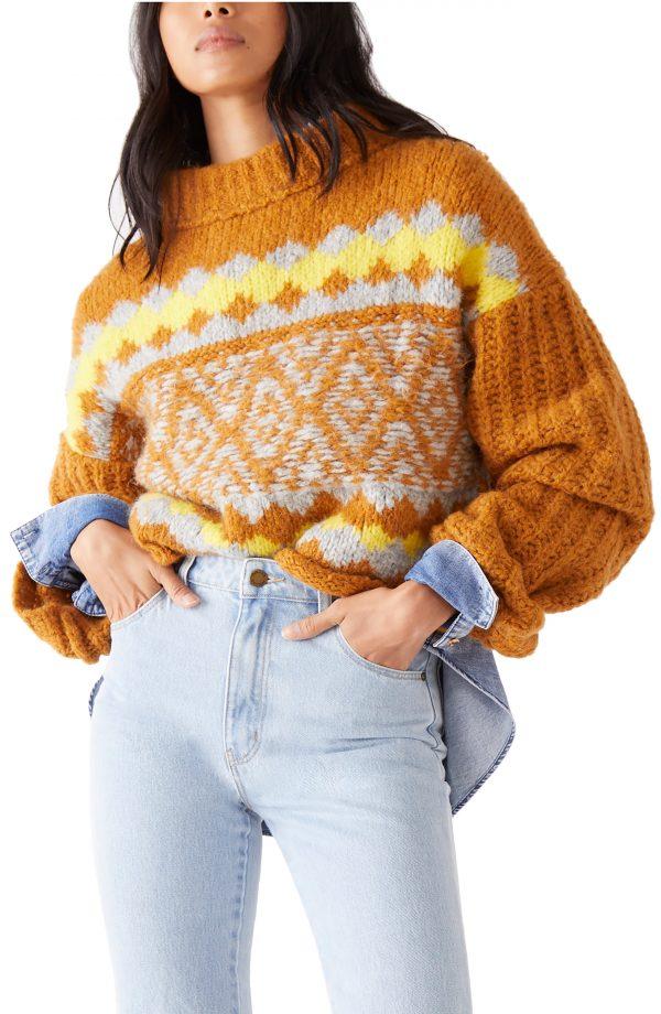 Women's Free People Alpine Crop Mock Neck Sweater, Size Small - Orange