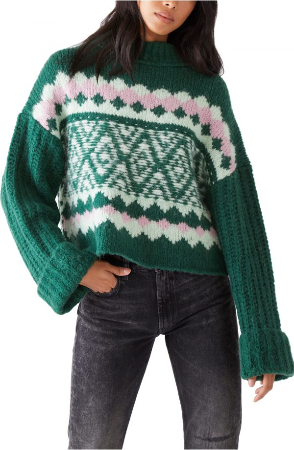 Women's Free People Alpine Crop Mock Neck Sweater, Size X-Small - Green