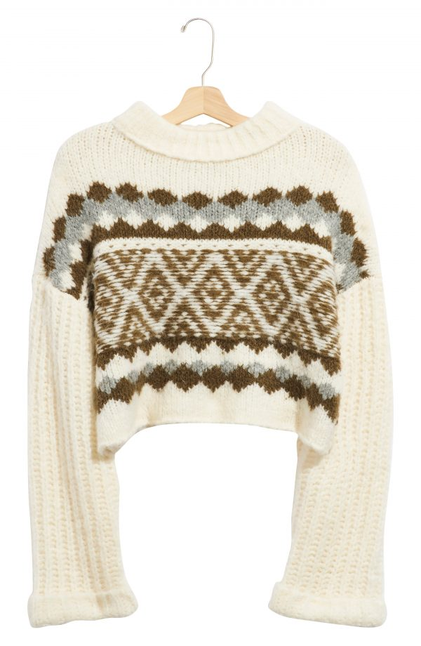 Women's Free People Alpine Crop Mock Neck Sweater, Size X-Small - Ivory