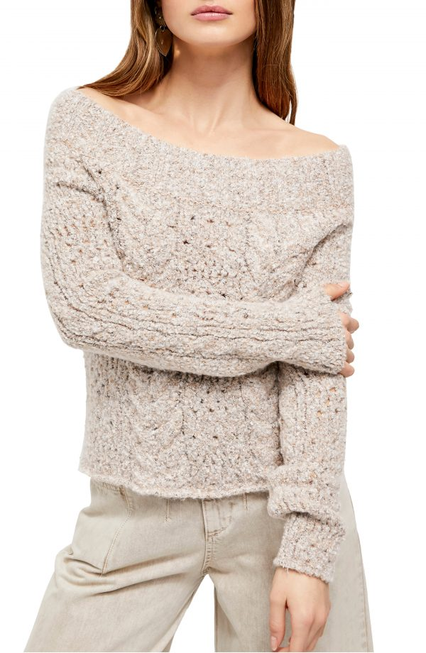 Women's Free People Avalon Off The Shoulder Sweater, Size X-Small - Ivory