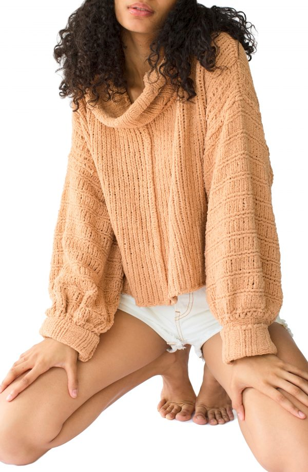 Women's Free People Be Yours Cowl Neck Sweater, Size X-Small - Beige