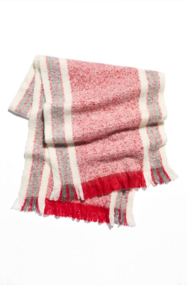 Women's Free People Brushed Racer Stripe Blanket Scarf, Size One Size - Red
