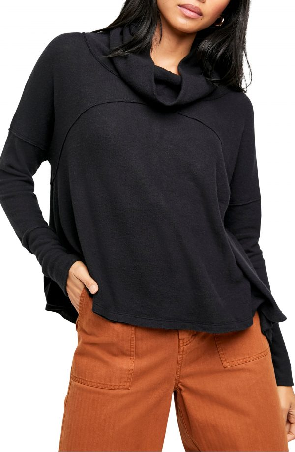 Women's Free People Cozy Time Funnel Neck Top, Size X-Small - Black