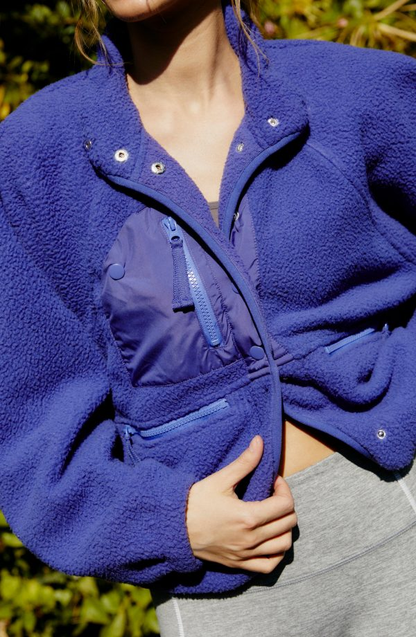 Women's Free People Fp Movement Hit The Slopes Fleece Jacket, Size Small - Blue