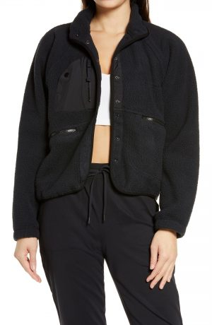 Women's Free People Fp Movement Hit The Slopes Fleece Jacket, Size X-Small - Black