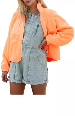 Women's Free People Fp Movement Hit The Slopes Fleece Jacket, Size X-Small - Coral