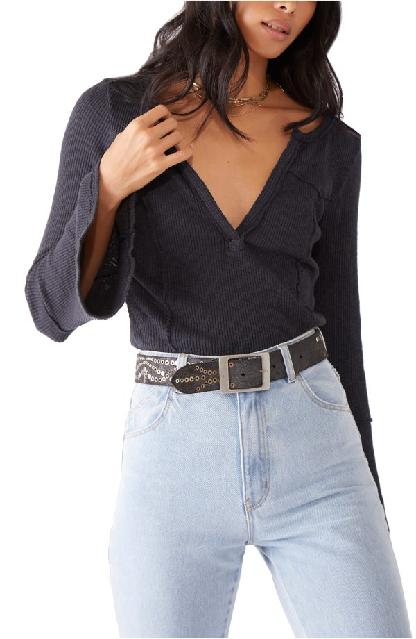 Women's Free People Give Me A Little Bell Sleeve Rib T-Shirt, Size X-Small - Black