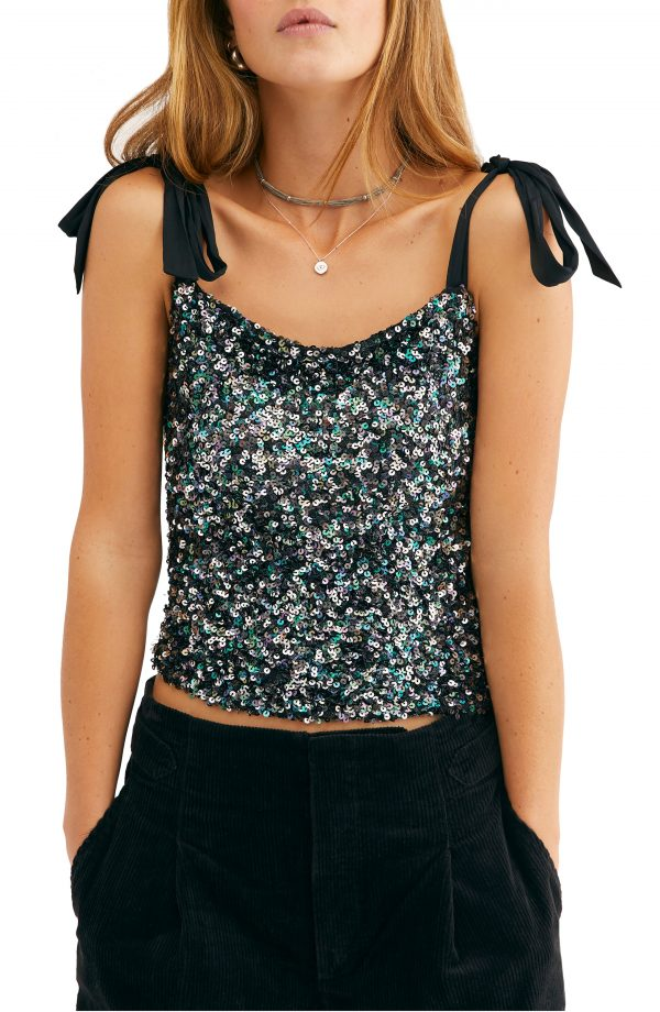 Women's Free People Hey Girl Tie Shoulder Sequin Camisole, Size X-Small - Black