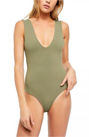 Women's Free People Intimately Fp Keep It Sleek Bodysuit, Size X-Small - Green