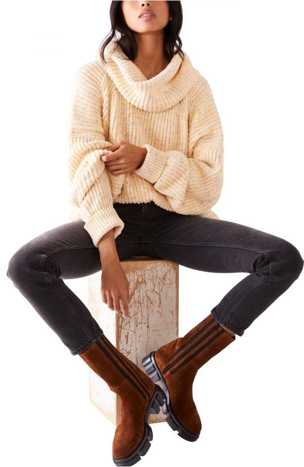 Women's Free People Leo Tunic Sweater, Size X-Small - Brown