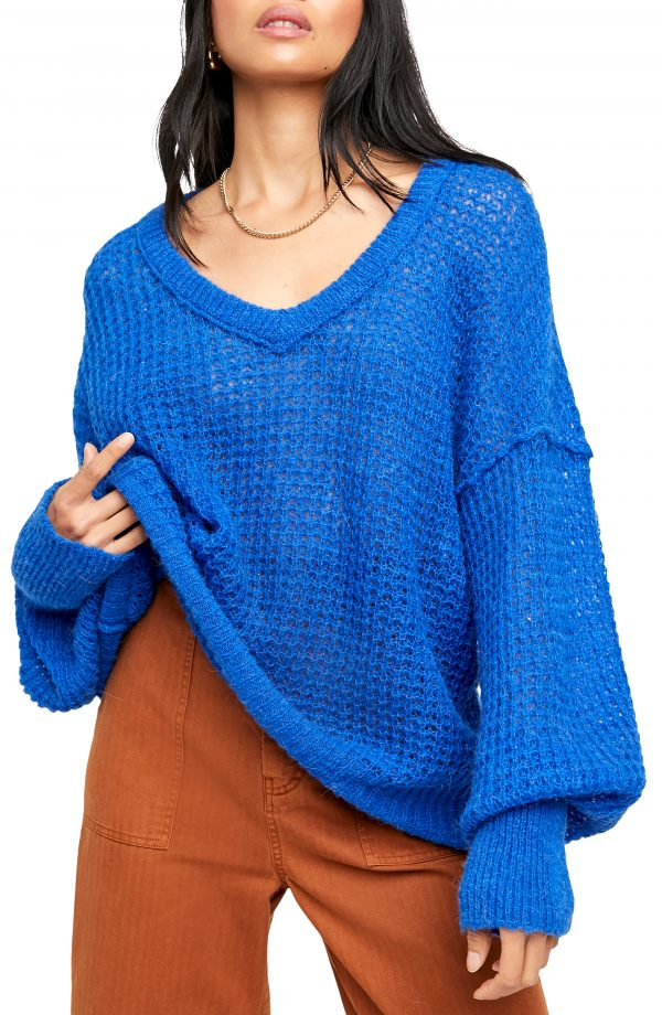 Women's Free People Lulu Oversize V-Neck Sweater, Size X-Small - Blue
