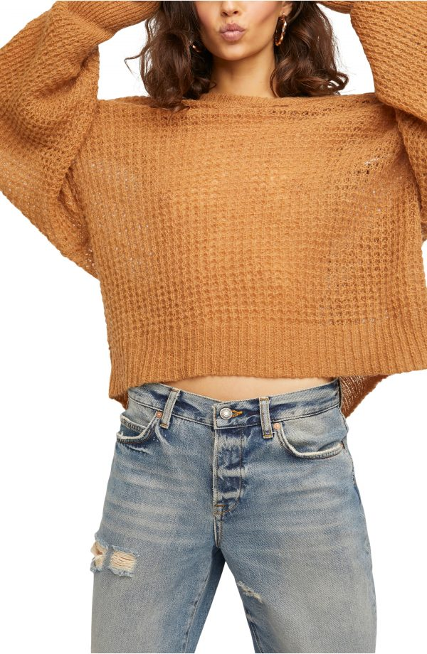 Women's Free People Lulu Oversize V-Neck Sweater, Size X-Small - Brown