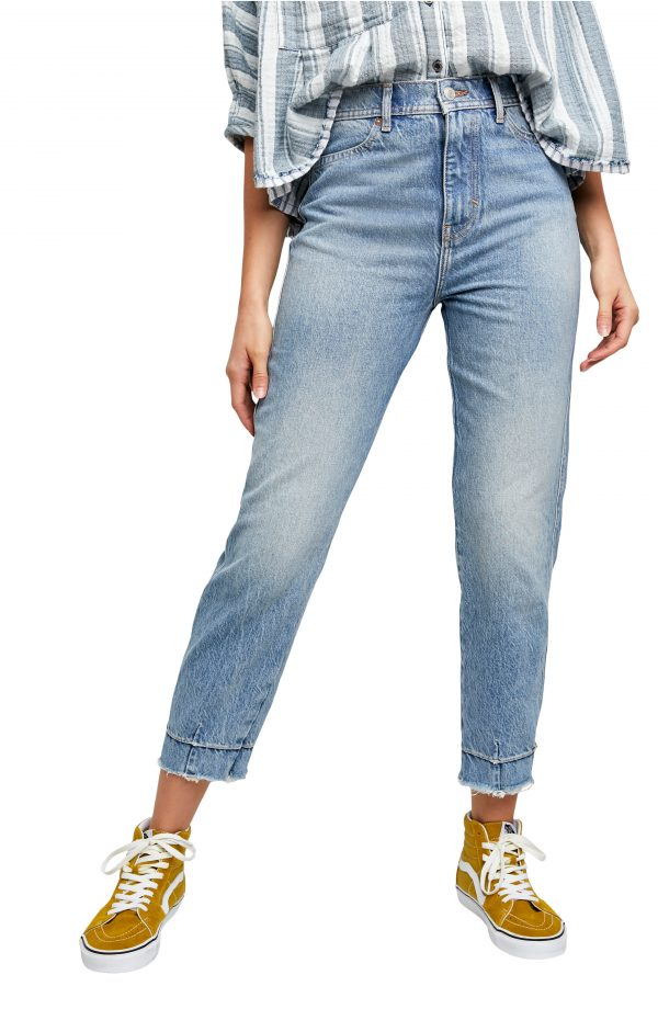 Women's Free People Marion High Waist Ankle Jeans, Size 24 - Blue